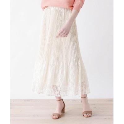 SHOO・LA・RUE/DRESKIP(シューラルー/ドレスキップ) 【M-L】消しプリーツフラワーチュールレーススカート
