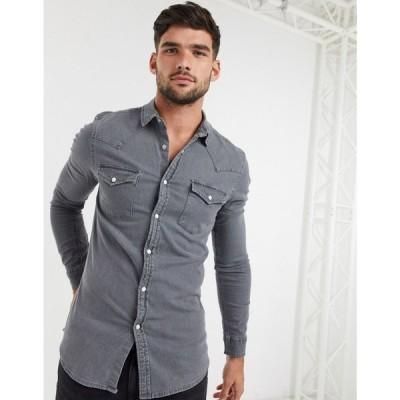 エイソス ASOS DESIGN メンズ シャツ デニム トップス Skinny Fit Western Organic Denim Shirt In Grey グレー