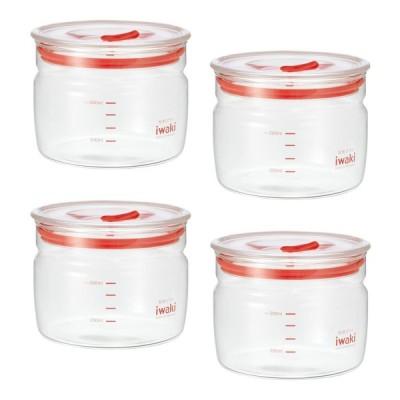 イワキ 保存容器 ガラス 耐熱 丸型 密閉クリアパック 550ml KBT7001M-R 4個セット
