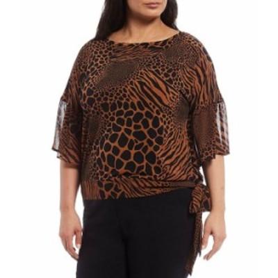マイケルコース レディース Tシャツ トップス MICHAEL Michael Kors Plus Size Mixed Animal Print Lux Matte Jersey 3/4 Flounce Sleeve