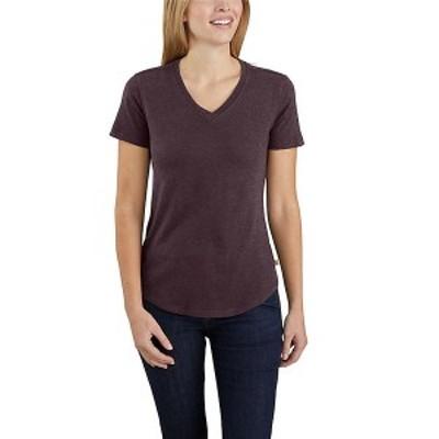 (取寄)カーハート レディース リラックスト フィット ミッドウエイト ショートスリーブ Vネック Tシャツ Carhartt Women's Relaxed Fit M