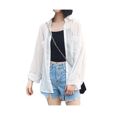 BeiBang(バイバン)シフォン カーディガン レディース ゆったり UVカット シャツ 夏 薄手 アウター 白シャツ リゾー