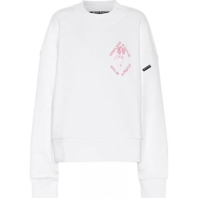 パーム エンジェルス Palm Angels レディース スウェット・トレーナー トップス oversized cotton jersey sweatshirt White Pink