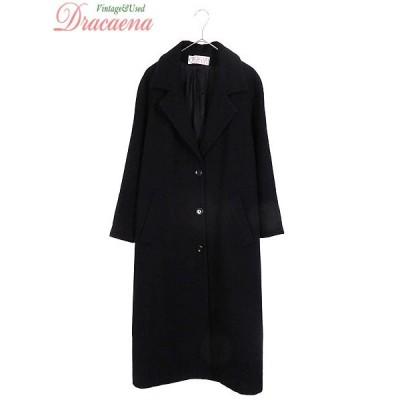 古着 レディース コート シンプル デザイン  ラグラン ウール チェスター ロング コート 羽織り 黒 L位 古着