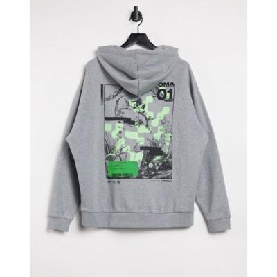エイソス メンズ パーカー・スウェット アウター ASOS DESIGN oversized hoodie with large cherub back print