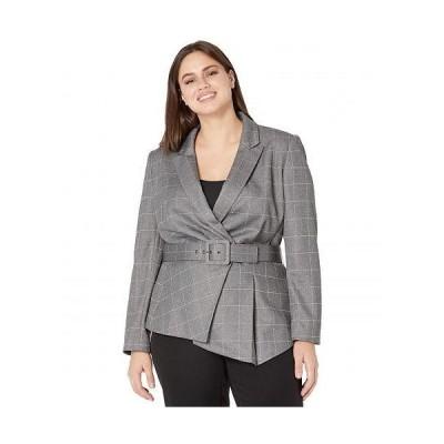 Tahari by ASL タハリ レディース 女性用 ファッション アウター ジャケット コート ブレザー Belted Jacket - Grey/Ivory Windowpane