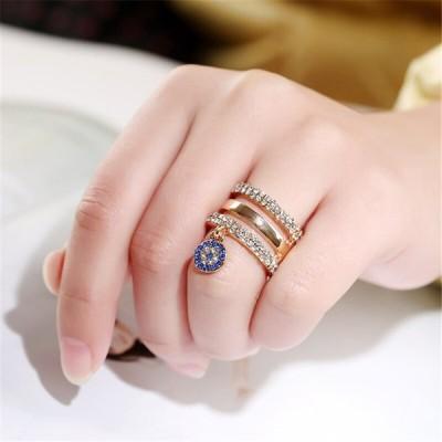 ブルー イービルアイ リング ファッション ラグジュアリー レディース エンゲージメント ジュエリー ゴールド 婚約 指輪 ラインストーン アクセサ