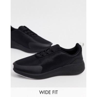 エイソス メンズ スニーカー シューズ ASOS DESIGN Wide Fit mesh sneakers in black Black