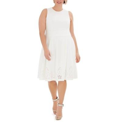 カルバンクライン ワンピース トップス レディース Plus Size Lace-Detail Fit & Flare Dress Cream