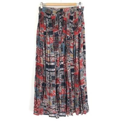古着 エスニックスカート 花柄 ガーゼ素材 ロング丈 マルチカラー フリーサイズ 中古