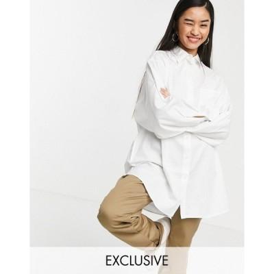 コリュージョン レディース シャツ トップス COLLUSION oversized white shirt in organic cotton White