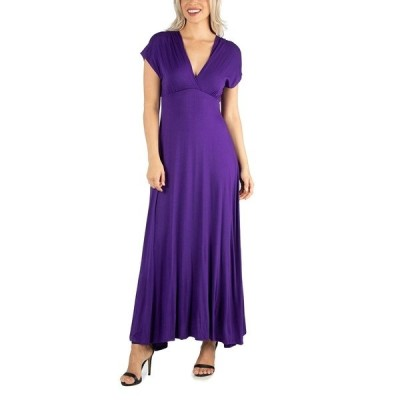 24セブンコンフォート ワンピース トップス レディース Women's Cap Sleeve V Neck Maxi Dress Purple