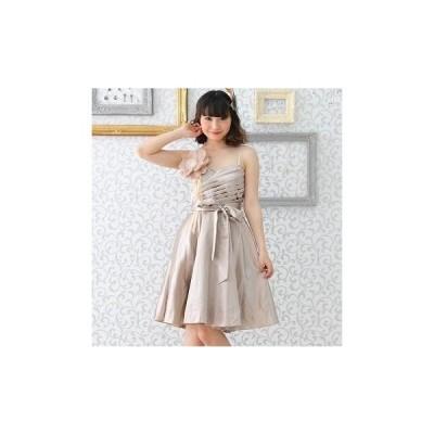 即納ドレス 大きいサイズ ハードチュールinドレスにLサイズ仲間入り Bigコサージュ付きで小顔効果も(ゴールド)結婚式 ドレス パーティー 披露宴