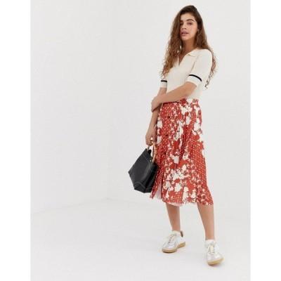 エイソス レディース スカート ボトムス ASOS DESIGN button front pleated midi skirt in mixed floral print Rust floral