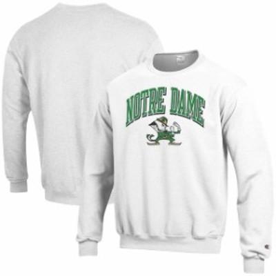 Champion チャンピオン スポーツ用品  Champion Notre Dame Fighting Irish White Arch Over Logo Powerblend Pullover Swea