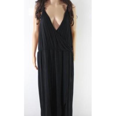 Maxi  ファッション ドレス The Vanity Room NEW Black Womens Size 2X Plus V-Neck Maxi Dress
