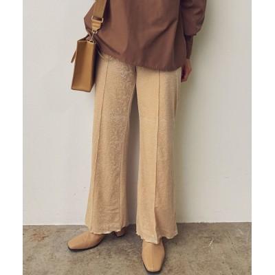 (ViS/ビス)【伸びる裏地付き】裾メロー柄入りベロアリブパンツ/レディース オフホワイト(15)