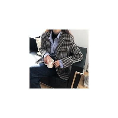 ジャケットレディーステーラードジャケットチェック柄格子柄スーツ風ジャケット長袖2つボタンカジュアルアウター春物薄手着心地いい