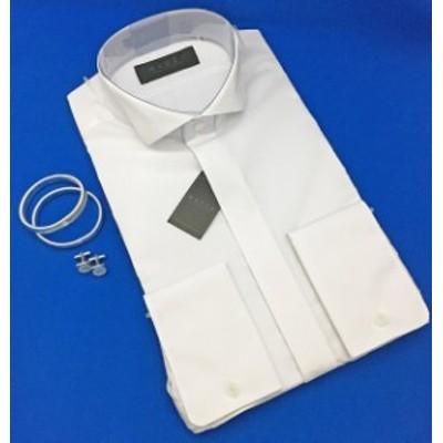 ウィングカラーシャツ/ダブルカフス仕様/3営業日以内発送/ちょっとグレードアップ/アームバンド&カフスボタン付