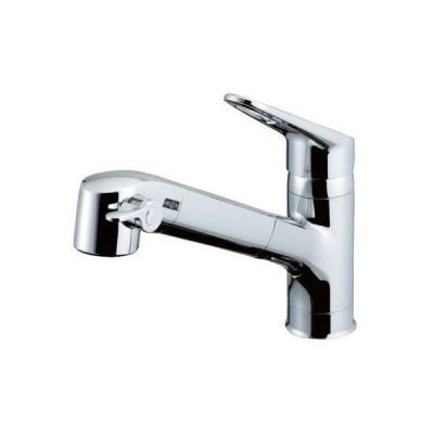 LIXIL(リクシル) INAX キッチン用 台付 浄水器内蔵シングルレバー混合水栓 エコハンドル 浄水 微細シャワー整流 ホース引出し 凍