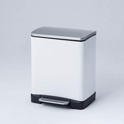 [10+9L] ゴミ箱(シルバー/ホワイト) ふた付き ペダル付き ステンレス キッチン リビング