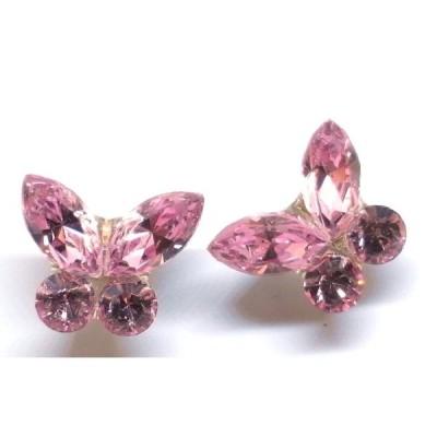K18(ゴールド) スワロフスキー社製クリスタル ピンク スタッドピアス 蝶