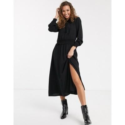 オアシス レディース ワンピース トップス Oasis midi dress with pussybow collar in black