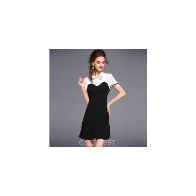 レディースワンピース新作上品スプライスリボンファッションOLドレス
