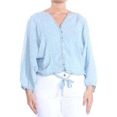 レディース 衣類 トップス SANCTUARY Womens Light Blue Tie Front Long Sleeve Button Up Top Size: L ブラウス&シャツ