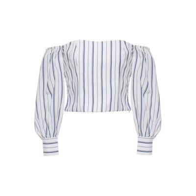 クローディ ピエルロ CLAUDIE PIERLOT レディース オフショルダー トップス off-the-shoulder striped woven top White