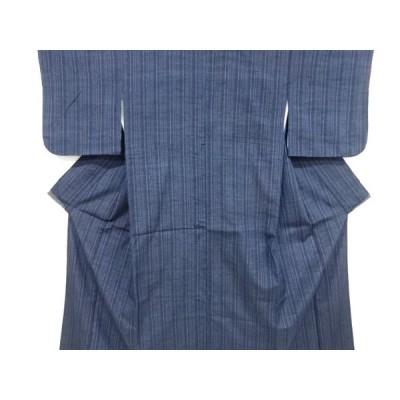 宗sou 縞模様織出し手織り真綿紬着物【リサイクル】【着】