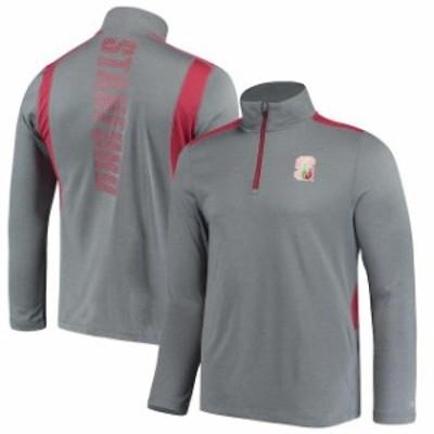 Champion チャンピオン スポーツ用品  Champion Stanford Cardinal Heathered Gray Button Hook Quarter-Zip Jacket