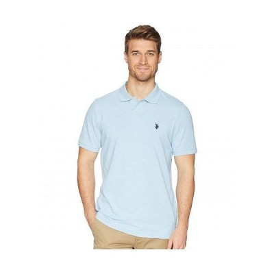 U.S. POLO ASSN. USポロ メンズ 男性用 ファッション ポロシャツ Solid Cotton Pique Polo with Small Pony - Yale Blue Heather