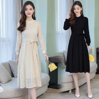 総レース パーティードレス  ミモレ丈 パーティードレス 袖あり 大きいサイズ 3l 結婚式 お呼ばれドレス 黒 フォーマルワンピース リボン