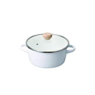 パール金属 クレヴィア ホーローガラス蓋両手鍋20cm ホワイト