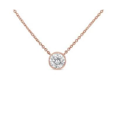 "10K Rose Gold 1/2 Carat Round Brilliant-Cut Diamond Modern Bezel-Set Solitaire 16""-18"" Pendant Necklace (H-I Color, SI2-I1 Clarity)【並行"