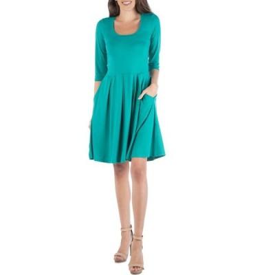 24セブンコンフォート レディース ワンピース トップス Three Quarter Sleeve Fit and Flare Mini Dress