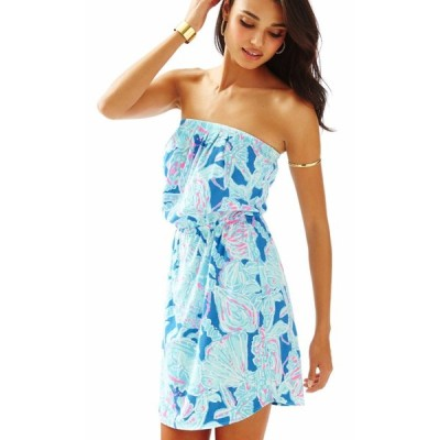 ワンピース リリーピュリッツァー  Lilly Pulitzer WINDSOR knit Strapless  DRESS Bay Blue Into The Deep  M L XL