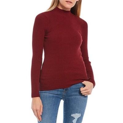 タカラ レディース パーカー・スウェット アウター Long Sleeve Mock Neck Rib-Knit Sweater