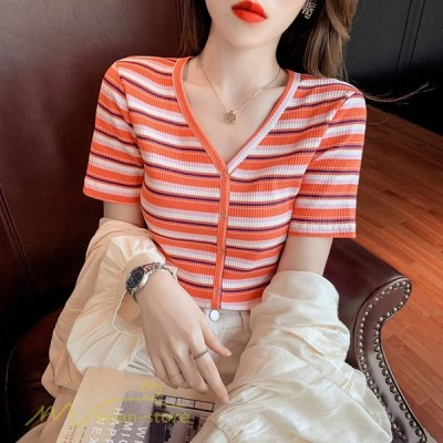 レディースニット新作春夏セータートップスVネックTシャツストライプ半袖きれいめ着回しS〜XL大きいサイズゆったり着痩せ