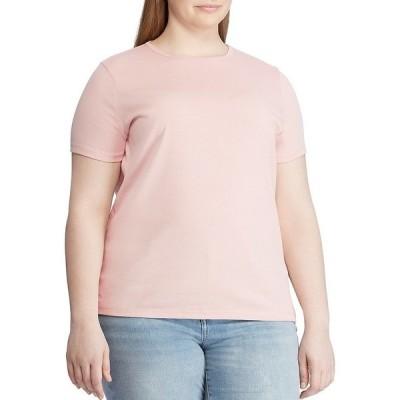 ラルフローレン レディース Tシャツ トップス Plus Size Short Sleeves Stretch Cotton T-Shirt Pale Rose