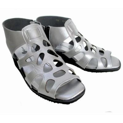 スミレ sumire 755 レディース グラディエーター ウエッジヒール パンチング 天然皮革 通勤履き リゾート靴 シルバー