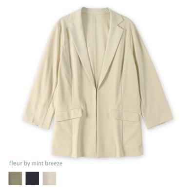 アウトレット ポンチジャケット 大きいサイズ レディース fleur by mint breeze フルール バイ ミントブリーズ  婦人服 ファッション 50代 60代 おしゃれ 通販