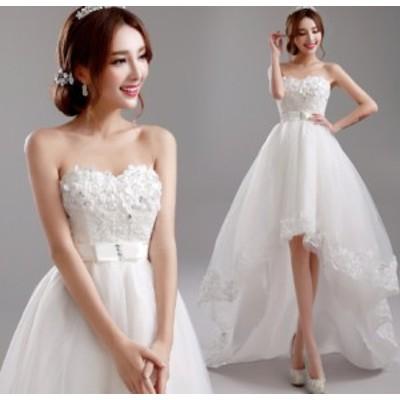結婚式ワンピース お嫁さん 豪華な ウェディングドレス 編み上げタイプ 花嫁 ドレス 大人の魅力 姫系ドレス 不規則ワンピース