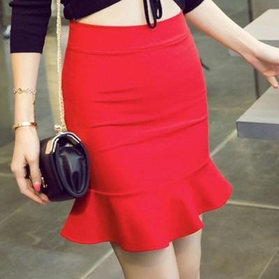 ショートマーメイドスカートウエストゴムタイトスカート人魚姫フリル裾ハイウエストスカートAラインスカート美脚大きいサイズ