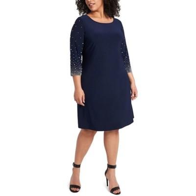 ミスク ワンピース トップス レディース Plus Size Faraj Embellished-Sleeve Sheath Dress Jbs Navy