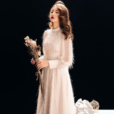 ドレス ショート ショートドレス ミモレ丈 ショット 2次会 演奏会ドレス 花嫁 結婚式 パーティードレス 長袖 大きいサイズ ホワイト