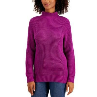 スタイルアンドコー レディース ニット・セーター アウター Petite Cotton Funnel-Neck Sweater