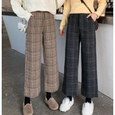 韓国 ファッション レディース ワイドパンツ ロング ボトムス チェック ハイウエスト 大きいサイズ ゆったり カジュアル レトロ 秋冬