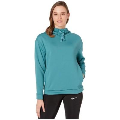 ナイキ Nike レディース パーカー トップス Therma All Time Ribbon Drawcord Pullover Hoodie Mineral Teal/Black